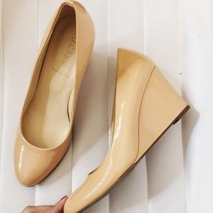 J Crew Patent Leather Nude Wedges